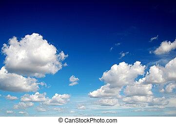 błękitne niebo, chmury, podobny, bawełna