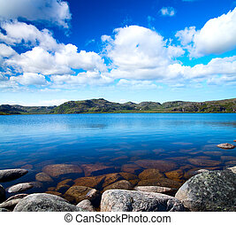 błękitne niebo, jezioro, pochmurny, pod, idill