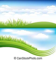 błękitne niebo, trawa, zielony