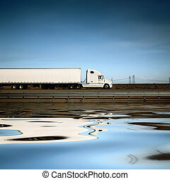 błękitne niebo, wózek, pod, biały, droga