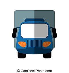 błękitny, ładunek, przewóz, wózek, mały, cień