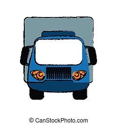 błękitny, ładunek, rys, przewóz, wózek, mały
