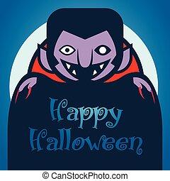 błękitny, światło księżyca, życzenia, rysunek, litera, tło., strzyga, halloween., szczęśliwy, dracula