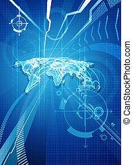 błękitny, świat handlowy, tło, mapa