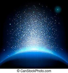 błękitny, 10, -, eps, space., głęboki, ziemia, wschód słońca