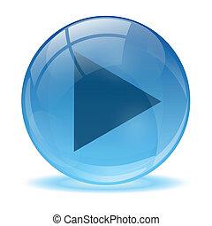 błękitny, abstrakcyjny, 3d, gra, ikona