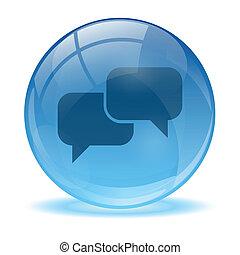 błękitny, abstrakcyjny, 3d, rozmowa, ikona