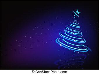 błękitny, abstrakcyjny, drzewo, boże narodzenie