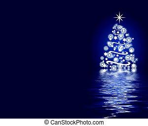 błękitny, abstrakcyjny, drzewo, boże narodzenie, tło