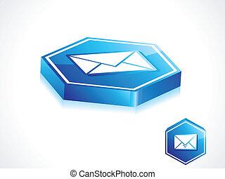 błękitny, abstrakcyjny, guzik, poczta