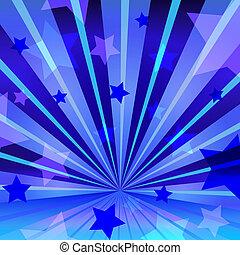 błękitny, abstrakcyjny, gwiazdy, promieniowanie, tło