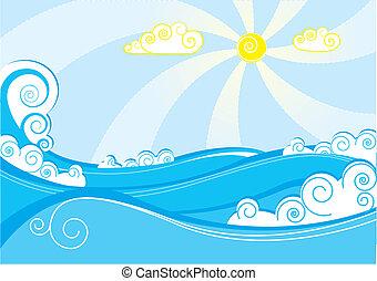 błękitny, abstrakcyjny, ilustracja, wektor, morze, biały, waves.