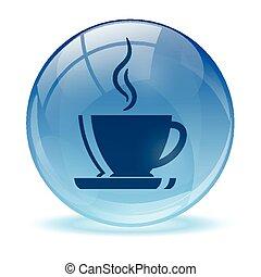 błękitny, abstrakcyjny, kawa, ikona