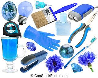 błękitny, abstrakcyjny, komplet, obiekty