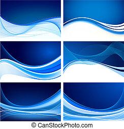 błękitny, abstrakcyjny, komplet, tło, wektor
