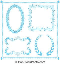 błękitny, abstrakcyjny, komplet, ułożyć