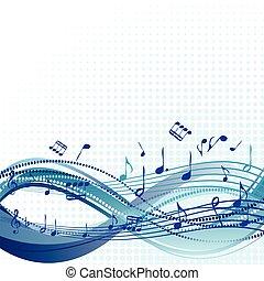 błękitny, abstrakcyjny, muzyka notatnik, tło