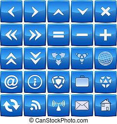 błękitny, abstrakcyjny, wektor, komplet, ikona