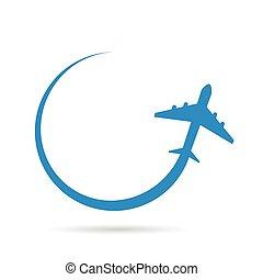 błękitny airplane, wektor, ilustracja