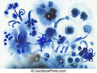 błękitny, akwarela, abstrakcyjny, kwiaty, mokry