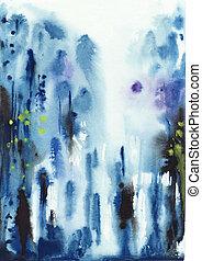 błękitny, akwarela, abstrakcyjny, tło, mokry