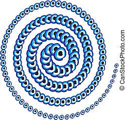 błękitny, amulet, kreska, wektor, sztuka