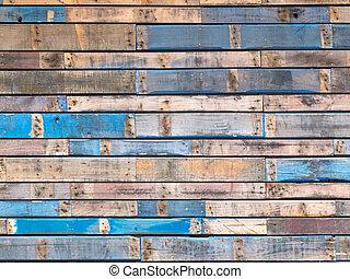 błękitny, barwiony, bocznica, drewno, powierzchowność, grungy, deski