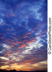 błękitny, barwny, niebo, pochmurny, zachód słońca, czerwony