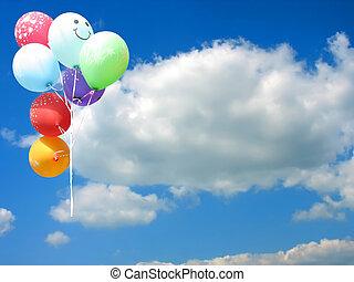 błękitny, barwny, tekst, niebo, przeciw, miejsce, partia, balony, twój, opróżniać