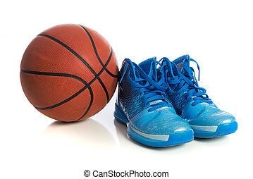 błękitny, biały, obuwie basketballu