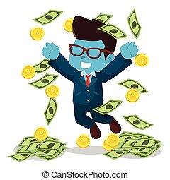 błękitny, biznesmen, padające pieniądze