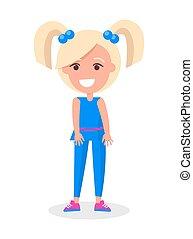 błękitny, blondynka, dwa, ogony, garnitur, dziewczyna uśmiechnięta