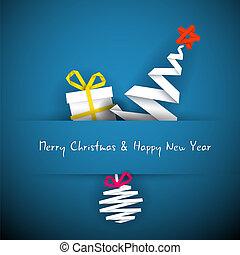 błękitny, boże narodzenie, prosty, drzewo, dar, wektor, bauble, karta
