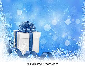 błękitny boks, illustration., dar, snowflakes., wektor, tło, boże narodzenie