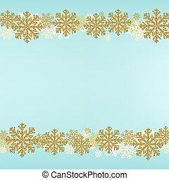 błękitny, brzeg, zima, tło, płatek śniegu