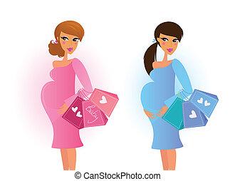 błękitny, brzemienne kobiety, różowy