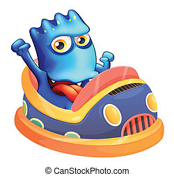 błękitny, bumpcar, potwór