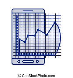 błękitny, cellphone, graficzny, sylwetka, ryzyko, finansowy