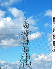 błękitny, (centered), niebo, tło, wieża, hydro