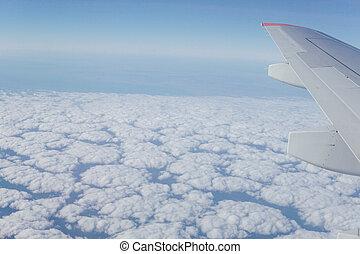 błękitny, chmury, niebo, podróż, skrzydło