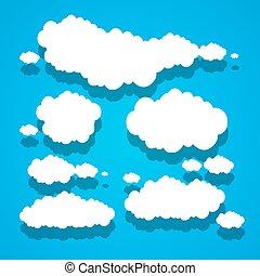 błękitny, chmury, papier, niebo, tło