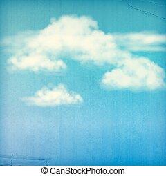 błękitny, chmury, rocznik wina, niebo, tło, biały