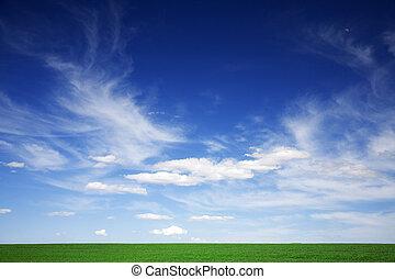 błękitny, chmury, wiosna, zielone pole, biały, niebiosa