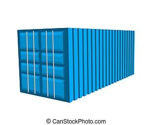 błękitny, containerb, ładunek