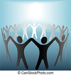 błękitny, copyspace, ludzie, siła robocza, miejscowość, jasny, pod, koło, utrzymywać