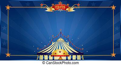błękitny, cyrk, magia, zaproszenie
