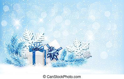 błękitny, dar, snowflakes., kabiny, wektor, tło, boże narodzenie