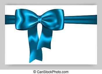 błękitny, dar, wstążka