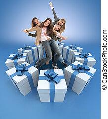 błękitny, dary, kobiety, otoczony, szczęśliwy