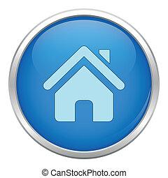 błękitny, dom, ikona